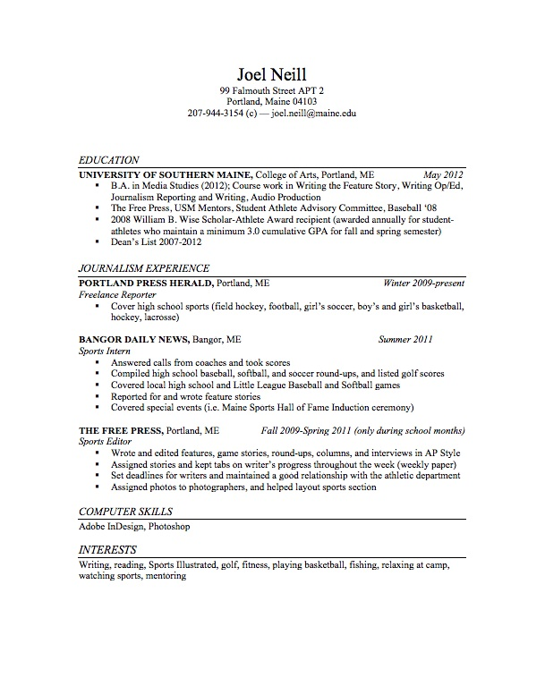 sports journalist resume